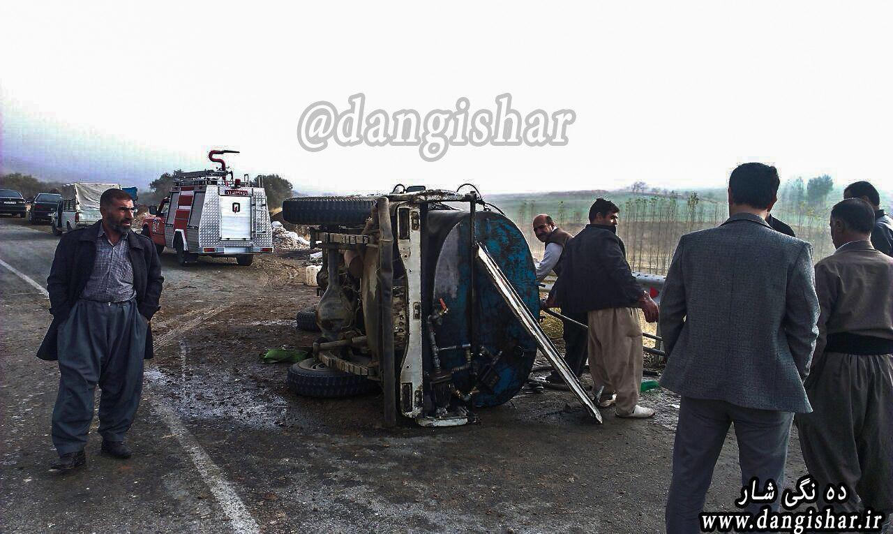 واژگونی  پاترول حامل نفت در جاده روستایی کانی جشنی